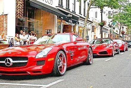 Red Mercedes SLS, Ferrari Lined up
